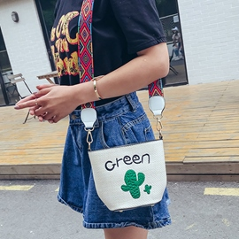 Ericdress Summer Korean Style Cactus Embroidered Crossbody Bag