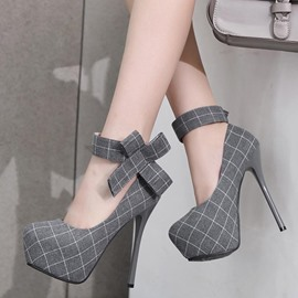 Ericdress Plaid Print Platform Stiletto Heel Pumps
