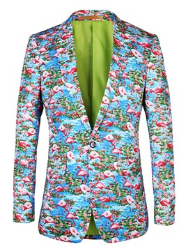Ericdress Flamingo Printed Color Block Slim Mens Blazer