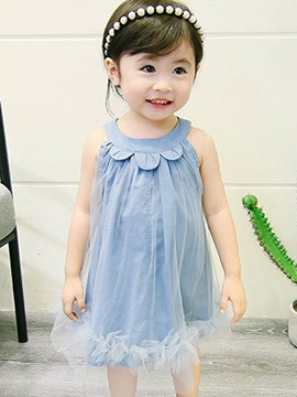 ericdress mesh a-line plain baby sleeveless kleid