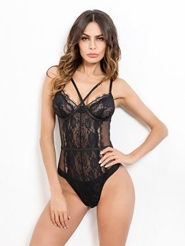 Ericdress Embroidery Criss-Cross See-Through Sexy Teddy