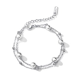 Ericdress Pearl Double Chain Bracelet