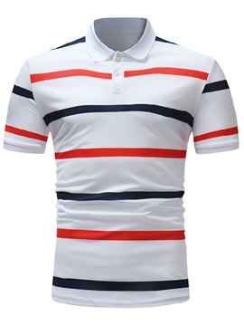 Ericdress Stripe Color Block Slim Fit Mens Polo T Shirt