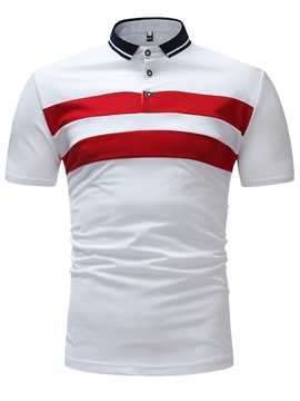 Ericdress Stripe Color Block Slim Mens Polo T Shirt
