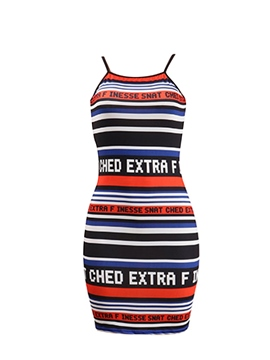 Ericdress Red Stripe Spaghetti Strap Bodycon Dress