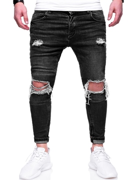 Ericdress Straight Plain Mens Ripped Jeans Pants