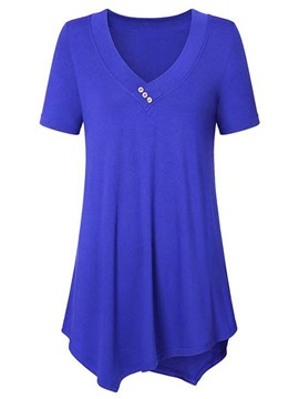 Ericdress Women's Plain Notch-V Mid-Length Tee Shirt