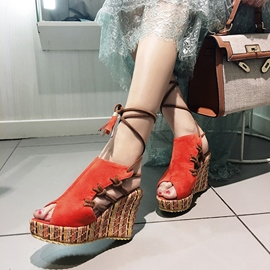 Ericdress Fringe Platform Strappy Peep Toe Wedge Sandals