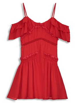 Ericdress Red Stringy Selvedge Off-The-Shoulder A-Line Dress