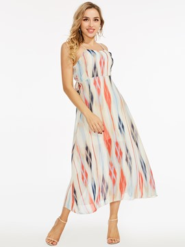 Spaghetti Strap Mid-Calf Printing Dress