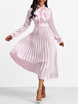 Ericdress Pleated Bow Collar Lantern Sleeve Plain A Line Dress