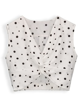 Twist Front Polka Dot Sleeveless Women's T-Shirt