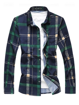 Ericdress Plaid Color Block Printed Mens Slim Casual Shirts