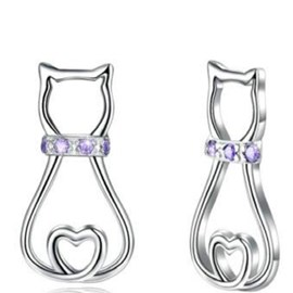 Ericdress Diamante Cat Hollow Out Stud Earrings