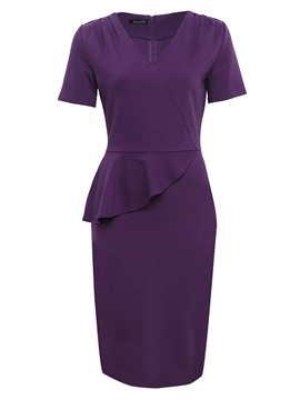 Ericdress Purple V-Neck Ruffles Pullover Ladylike Bodycon Dress