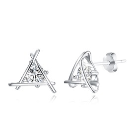 Ericdress Triangle Lock&Love Stud Earrings