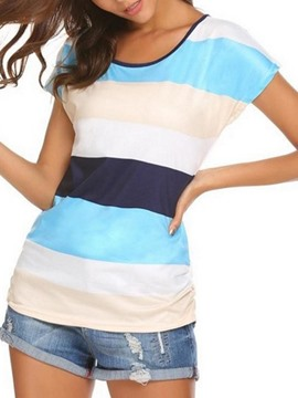 Ericdress Women's Scoop Stripe Color Block Tee Shirt