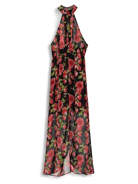 Ericdress Floral Asymmetric Backless Lace-Up Casual Dress