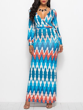 Ericdress Blue V-Neck Wave Print Bodycon Dress