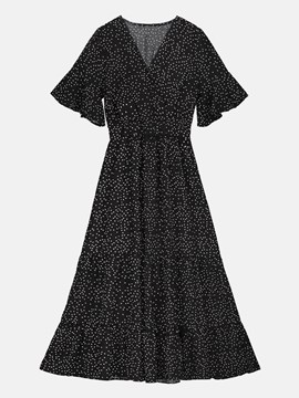 Black Polka Dots Women's Day Dress