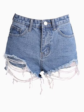 Ericdress Denim Ripped Women's Shorts