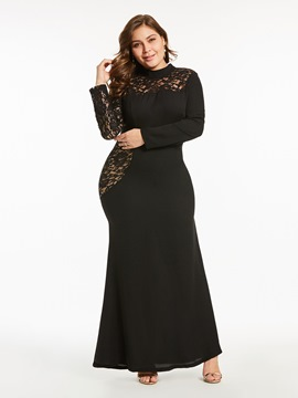 Ericdress Plus Size See-Through Scoop Plain Lace Women's Maxi Dress