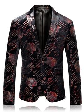 Ericdress Floral Printed Straight Mens Wedding Ball Blazer