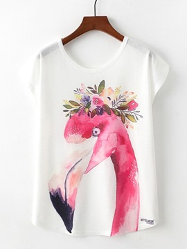 Ericdress Women's Flamingo Print Loose Tee Shirt