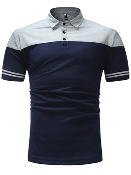Ericdress Patchwork Color Block Slim Fit Mens Polo T Shirt