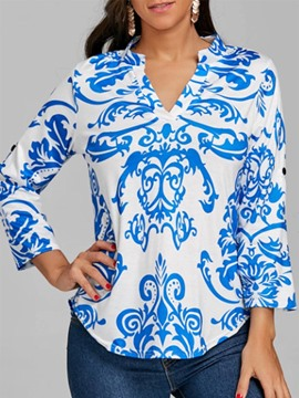 Ericdress Women's Loose Print V-Neck Long Sleeve Blouse