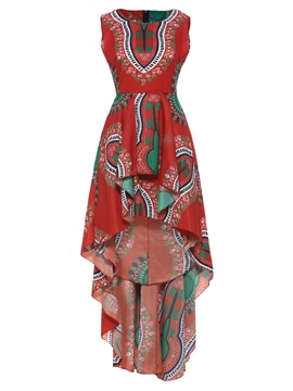 Ericdress Geometric Floral Plusee Ethnic Casual Dress