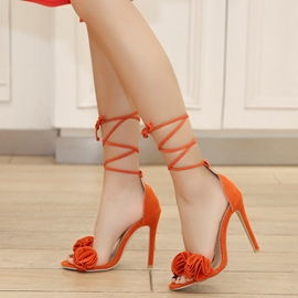 Ericdress Ruffles Lace-Up Open Toe Stiletto Sandals