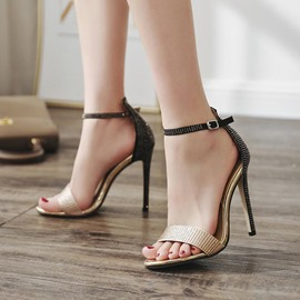 Ericdress Rhinestone Color Block Stiletto Sandals