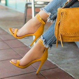 Open Toe Line-Style Buckle Heel Sandals