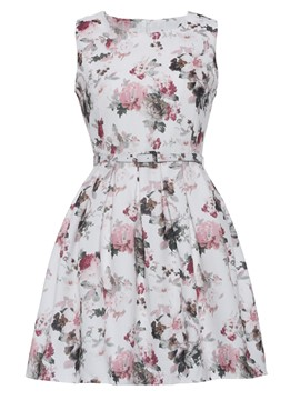 Ericdress Floral Pastoral High-Waist A-Line Dress