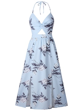 Ericdress V-Neck Floral Hollow Backless A-Line Dress