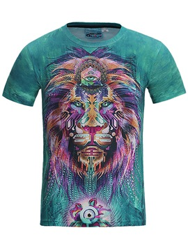 Ericdress Animal Printed Loose Mens Scoop T Shirt