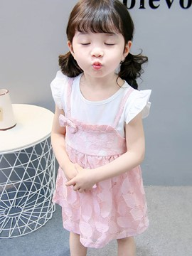 Ericdress Pleated Lace Bowknot Cap Sleeve Baby Girl's Dress