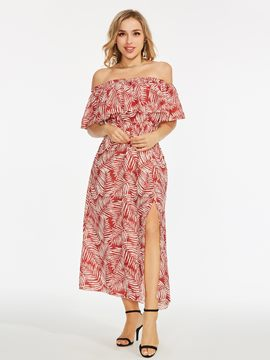 Off Shoulder Printing Split Maxi Dress