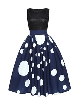 Ericdress Blue Dots Patchwork Lace A-Line Dress