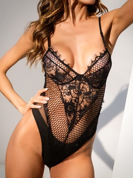 Ericdress Fishnet Hollow Spaghetti Strap Sexy Teddy Bodysuit