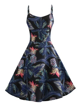 Ericdress Flamingo Floral Knee-Length A-Line Dress