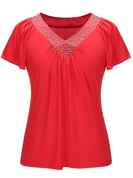 Ericdress Women's Bead Pleated Short Sleeve Tee Shirt