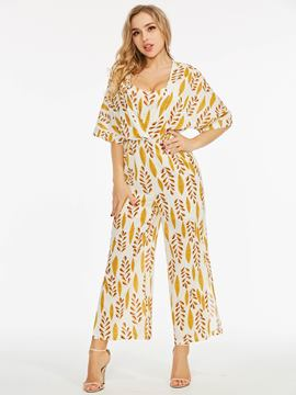 Leaf Pattern Half Sleeve Women's Suit