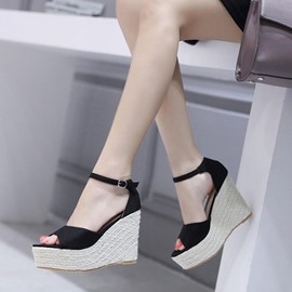 Ericdress Platform Peep Toe Heel Covering Wedge Sandals