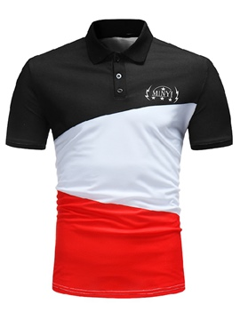 Ericdress Color Block Patchwork Slim Fit Mens Polo T Shirt