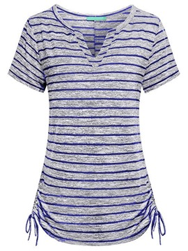 Ericdress Women's Notch-V Stripe Short Sleeve Tee Shirt