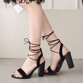Ericdress Lace-Up Ankle Strap Open Toe Chunky Sandals