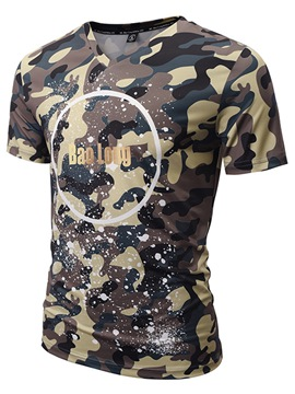 Ericdress V-Neck Camouflage Printed Slim Mens T Shirt
