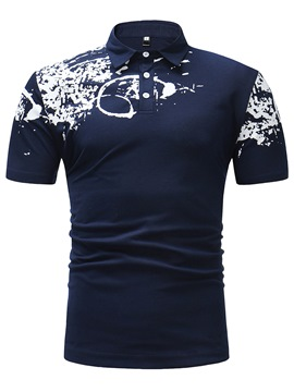 Ericdress Floral Printed Slim Color Block Mens Polo T Shirt